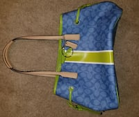 blue and green Coach monogram crossbody bag WASHINGTON