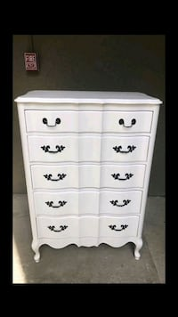 5 drawer dresser with night stand repainted white. Mesquite, 75150