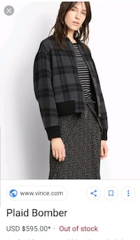 Vince Women's Tonal Plaid Bomber Jacket
