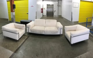 Natuzzi couch &chair set, office furniture, living room set white sofa
