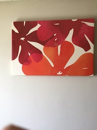 red and white floral painting