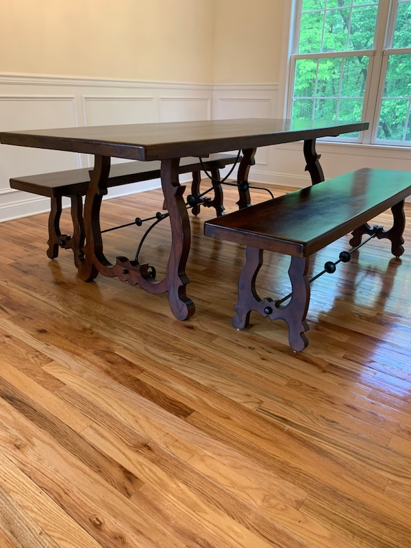 Sensational Pier 1 Indira Trestle Dining Table And Benches Ocoug Best Dining Table And Chair Ideas Images Ocougorg