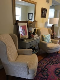 Set of 2 Off White wing chairs w FREE Slipcover