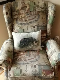 brown white and green fabric wing chair Bristow, 20136