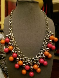 red and silver beaded necklace Hyattsville, 20782