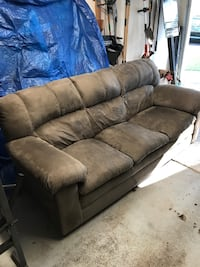Gray suede 3-seat sofa