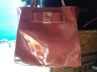 red and white leather tote bag Phoenix