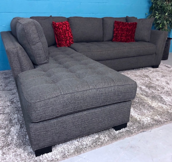 Admirable Cindy Crawford Calvin Heights Slate 2Pc Sectional Sofa Free Delivery Evergreenethics Interior Chair Design Evergreenethicsorg
