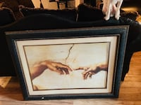 Brown wooden framed painting of the Creation of Adam Laredo, 78046