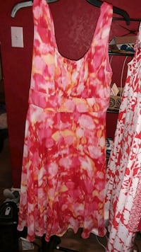 women's pink and white floral sleeveless dress 1377 mi
