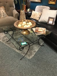 Black Metal/Glass Top Coffee Table