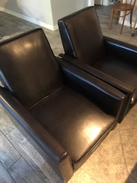 2 black leather padded sofa chair Dallas, 75206