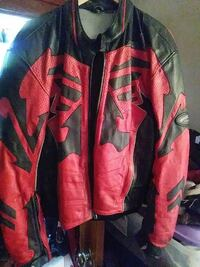 red and black leather racing jacket