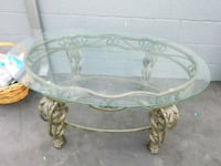 round clear glass top table with gray metal base Garden Grove, 92843