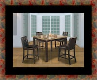 Marble tall table with 4 leather chairs District Heights, 20747