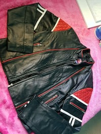 black and red leather zip-up jacket Winnipeg, R3R 2E4