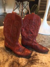 pair of red leather r-toe western cowboy boots