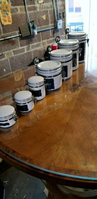 white and black ceramic kitchen containers...  Englewood, 80110