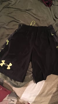 black and grey Under Armour shorts