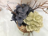 White echeveria and gray hydrangea flowe centerpiece Palm Bay, 32908