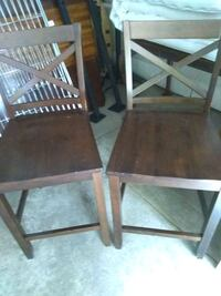 TWO BROWN BARSTOOL HEIGHT CHAIRS
