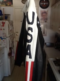Black, white and red usa leather jacket Ewing, 08628