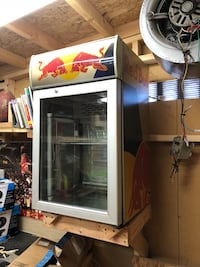 white Red Bull commercial compact refrigerator Bakersfield