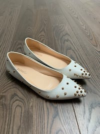 Spiked white and gold flats  Oakville, L6K 1S2