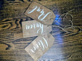 Handmade wood stocking tags