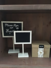 Chalkboard signs and burlap card box