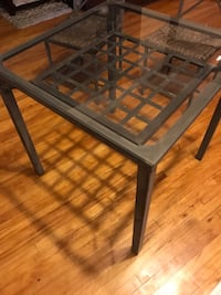 Glass/metal outdoor table with 2 chairs
