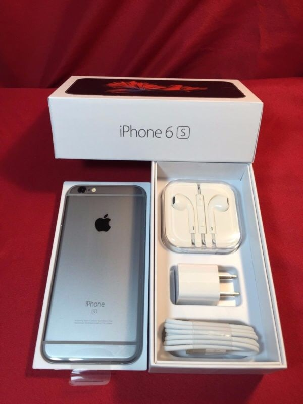space grey iphone 6s with earpods, charger and box