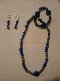 blue-and-silver-colored beaded necklace and drop earrings set