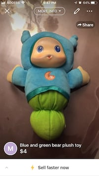 Blue and yellow plush toy glow in worm Montréal, H1R 1M6
