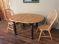 round brown wooden table with two chairs Rogers, 72756