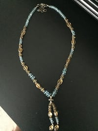 """Aquamarine & Amber"" Glass Bead Necklace"