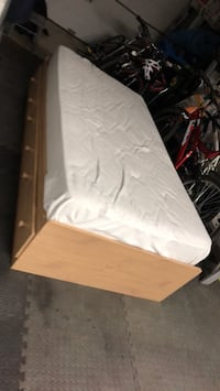 white mattress with brown wooden bed frame Sainte-Julie, J3E
