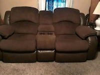 brown fabric 2-seat recliner Austin, 78741