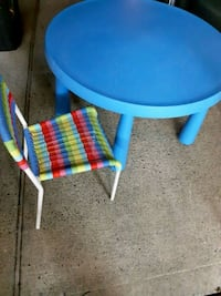 IKEA  childrens plastic round table and chair