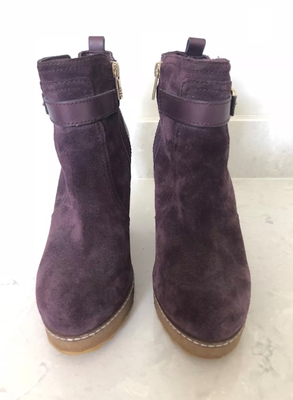 80183e772d3c Used Tory Burch purple Primrose Wedge suede leather Ankle Boot Size 7.5 for  sale in Atlanta