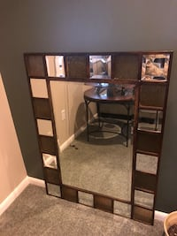 Large mirror with olive green stained glass Pikesville, 21208