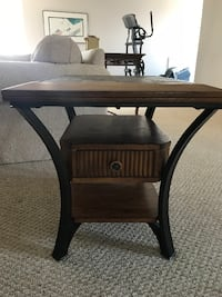 End table - solid wood, stone top, metal legs Vaughan