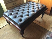 Button Tufted Leather Cocktail Ottoman Luxurious