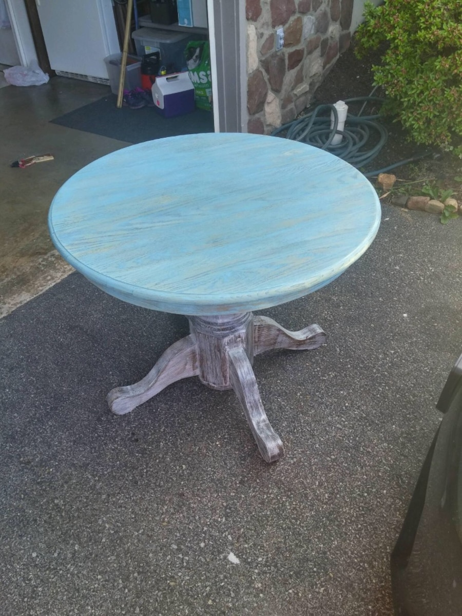 Used teal wooden round table in roanoke for Table 52 roanoke va