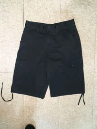 black and gray shorts with black leather belt New York, 10033