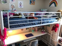 White Loft twin bed with desk underneath. Dunnellon, 34432