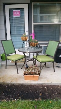 Patio Bistro Set 3 piece, glass top, plants not included
