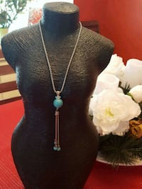 silver-colored necklace with turquoise pendant Bowie, 20716