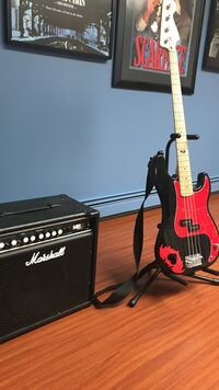 red and black electric bass with marshall guitar amplifier Plymouth, 02360