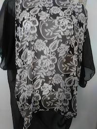 white and black floral shirt